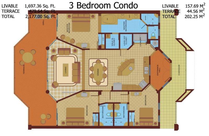Three Bedroom Three Bath Condo