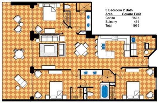 Three Bedroom 2 Bath Condo